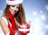 Christmas woman with gifts box — Stock Photo