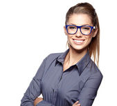 Portrait of a beautiful young woman wearing glasses — Stock Photo