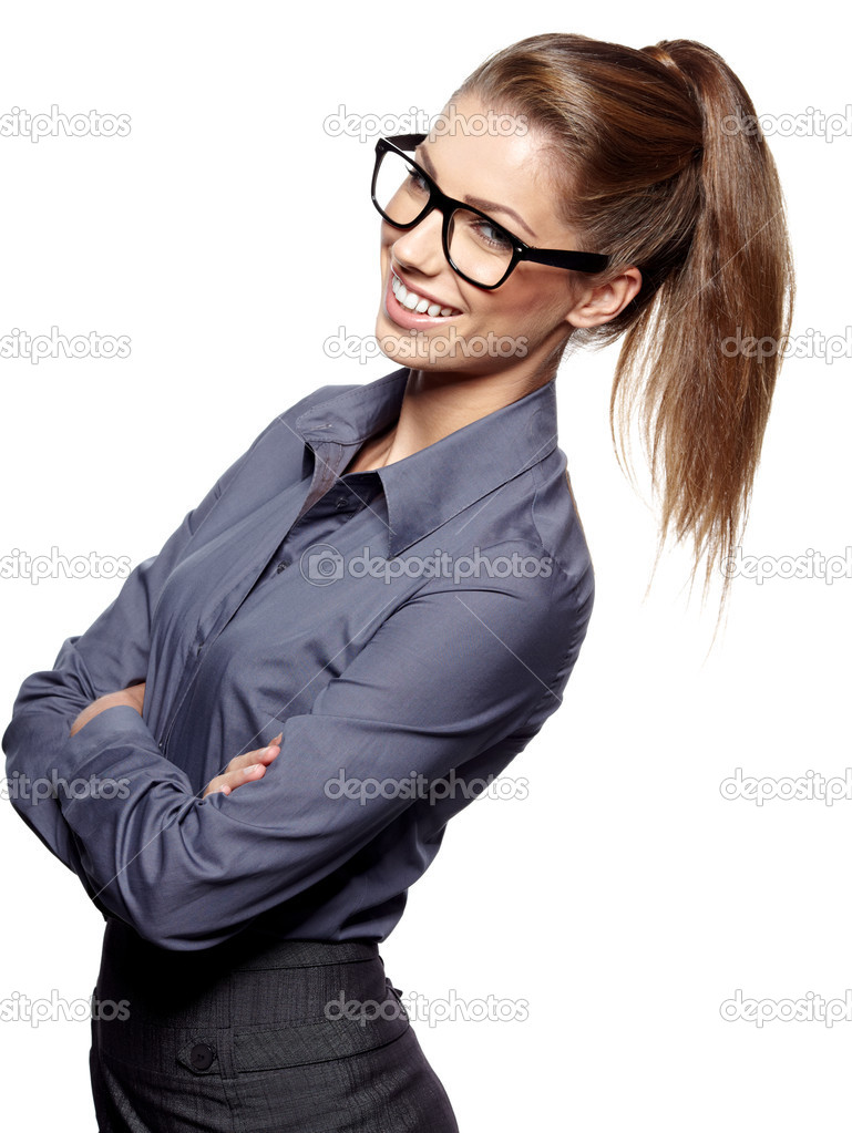 Portrait of a beautiful young woman wearing glasses  — Stock Photo #14122922