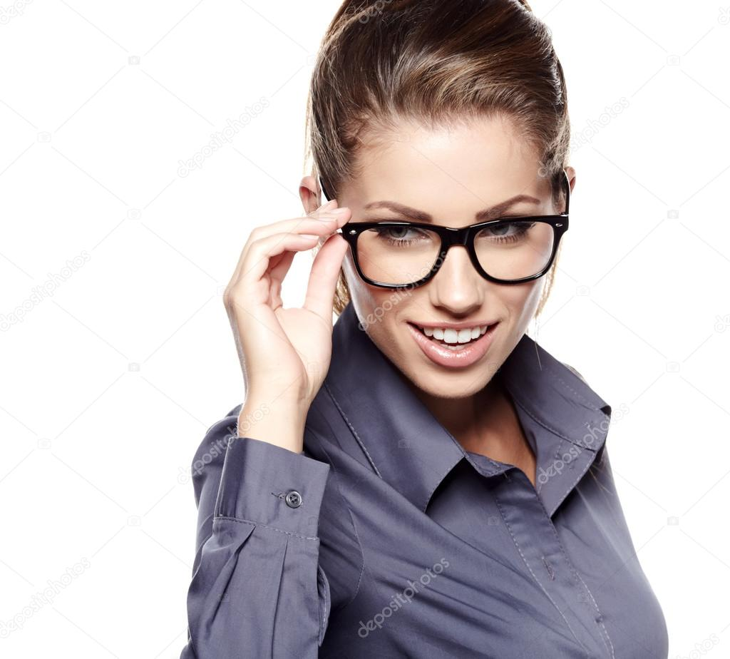 Portrait of a beautiful young woman wearing glasses  — Stock Photo #14138517