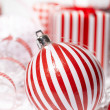 Christmas Gift Box with bauble. — Stock Photo