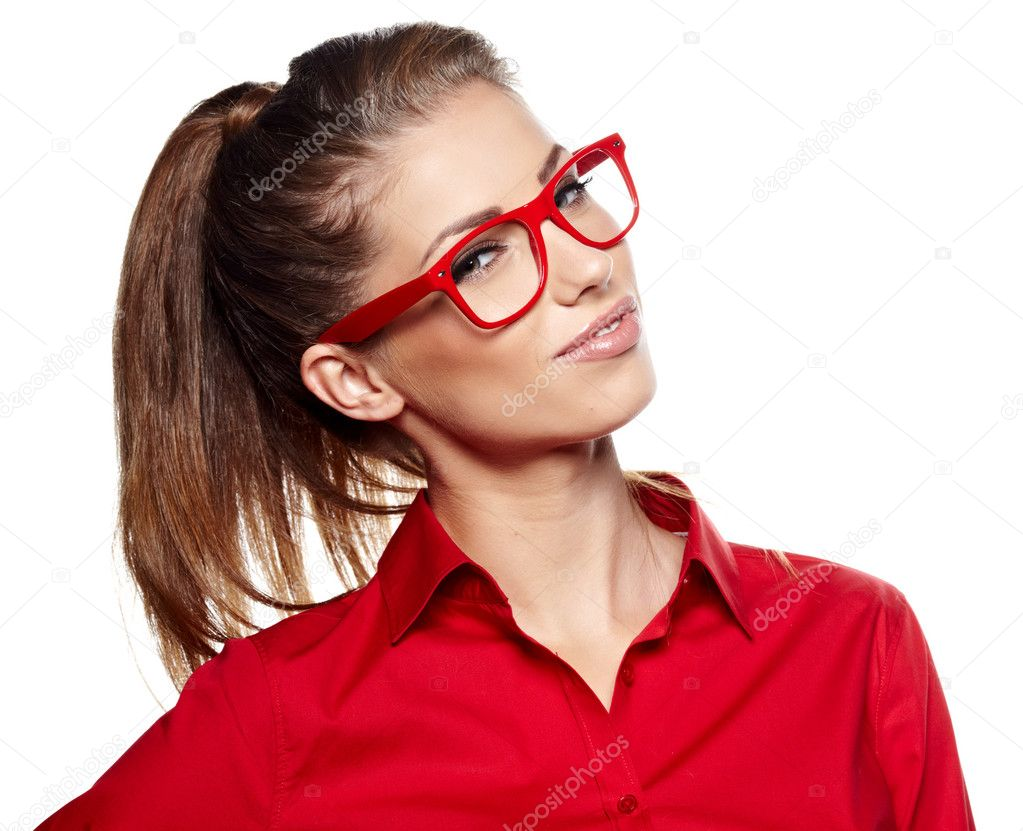 Portrait of a beautiful young woman wearing glasses  — Stock Photo #14482317