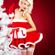 Beautiful blonde woman in Santa costume - Stock Photo