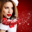 Portrait of beautiful sexy girl wearing santa claus clothes — Foto Stock #14757175