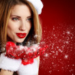 Portrait of beautiful sexy girl wearing santa claus clothes — Stock Photo #14757175