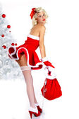 Sexy christmas woman on white background — Stock Photo