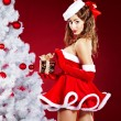 Beautiful sexy girl wearing santa claus clothes — Stock Photo #14944145