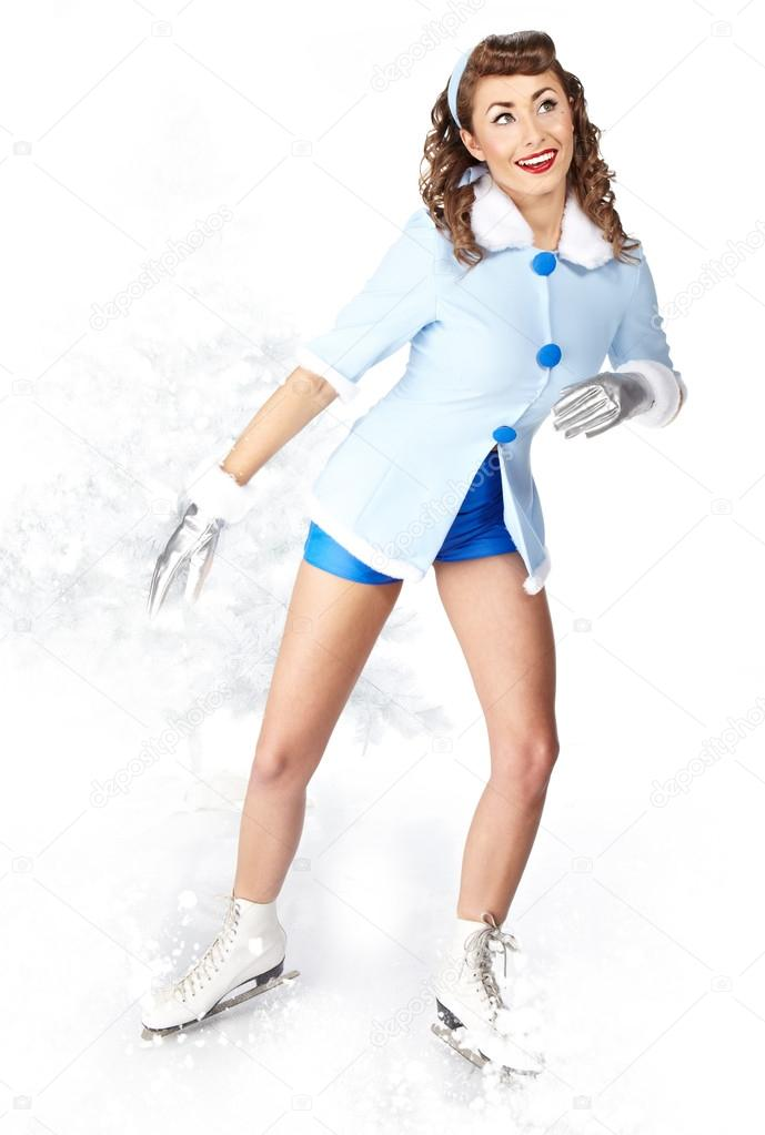 Sexy Ice Skating Woman   Stock Photo #14944361