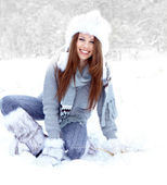 Snow winter woman portrait outdoors on snowy white winter day. — Stock Photo