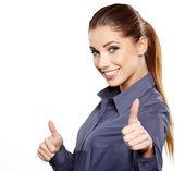 Femme d'affaires heureux souriant avec le signe de la main ok — Photo