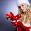 Royalty-Free Stock Photo: Winter portrait of a santa woman with a christmas gift