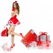 Beautiful sexy girl wearing santa claus clothes — Stock Photo #15627609