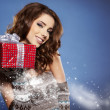 Beautiful brunette woman with a gift boxes — Stock Photo #15627483