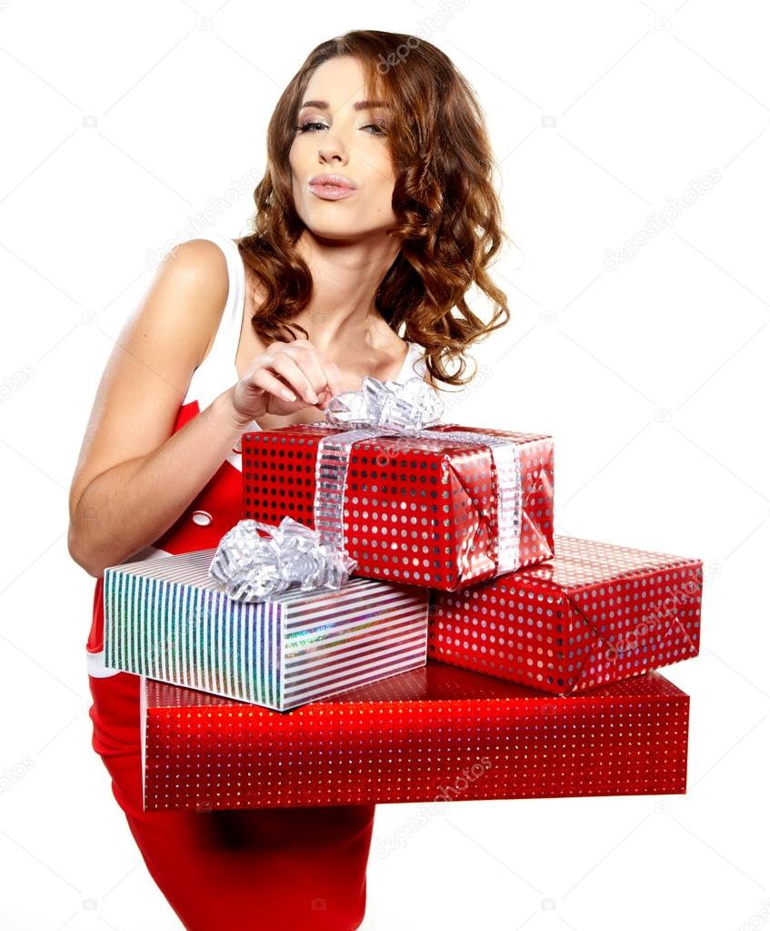 Attractive woman with many gift boxes and bags.   Stock Photo #15627733