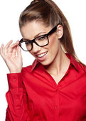 Business woman in glasses reflects, isolated on white background — Stock Photo