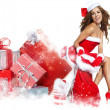 Stock Photo: Beautiful sexy girl wearing santclaus clothes