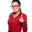 Happy young beautiful woman doing thumbs up. — Stock Photo