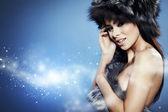 Fur Fashion. Beautiful Girl in Fur Hat. Winter Woman Portrait — Stock Photo