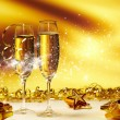 Stock Photo: Champagne glasses ready to bring in the New Year