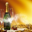 Champagne glasses ready to bring in the New Year — Stock Photo
