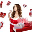 Attractive woman with many gift boxes and bags. — Stock Photo #16630987