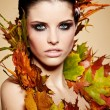 Autumn Woman. Fall. Beautiful Stylish Girl With Professional Mak - Stock Photo