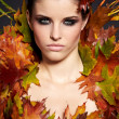 Autumn Woman. Fall. Beautiful Stylish Girl With Professional Mak — Stock Photo