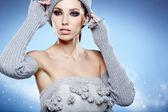Kış kadın portresi — Stok fotoğraf