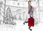 Krásná žena nákupní mall remíza — Stock fotografie