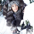 Young woman winter portrait. Shallow dof. - Stockfoto