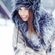 Snow winter woman portrait outdoors on snowy white winter day. — Stock Photo #18037731