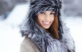 Young woman winter portrait. Shallow dof. — Stock Photo