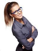 Cute young business woman with glasses — Stock Photo