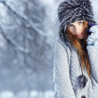 Beautiful brunette  hair girl i winter clothes  — Stock Photo
