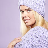 Blonde woman wearing a winter cap — Stock Photo