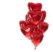Happy birthday balloons heart love party decoration red . Valent — Stock Photo