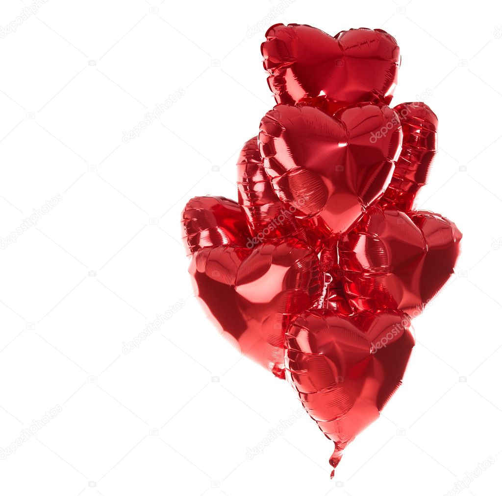 Happy birthday balloons heart love party decoration red . Valentines day . — Stockfoto #18720089