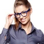 Eyewear glasses woman closeup portrait. Woman wearing glasses ho — Stock Photo