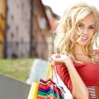 Shopping woman in city — Foto Stock