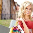 Shopping woman in city — Stock Photo