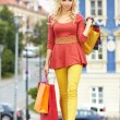 Shopping woman in city - Stock Photo