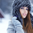 Stock Photo: Beautiful girl in the park in winter