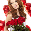 Beautiful female holding red roses bouquet, valentines day. — Stock Photo #19882045