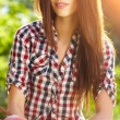 Portrait of happy cheerful smiling young beautiful woman, outdo — Stock Photo #20142765