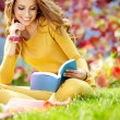Beautiful girl with book in the spring park — Stock Photo #20400055