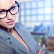 A portrait of a young business woman in an office — Stock Photo #20992315