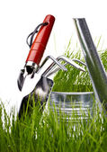 Garden tools and watering can with grass on white — Photo