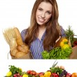Young woman holding a grocery bag full of food. Vegetable border - Stock Photo