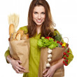 Girl holding a bag of food — Stock Photo #21350041