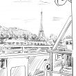 Street in paris -sketch  illustration — Stockfoto